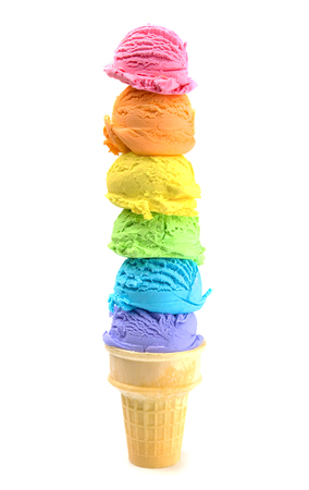 Six Large Scoops of Rainbow Ice Cream Cone on a White Background
