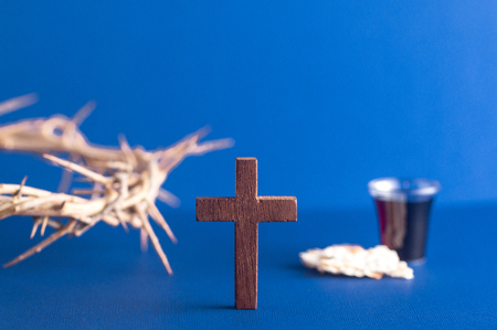 Symboles of Christianity and the Communion on a Blue Background Archivio Fotografico