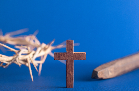 Symbols of the Crucifixion with a Nail and the Crown of Throns Archivio Fotografico