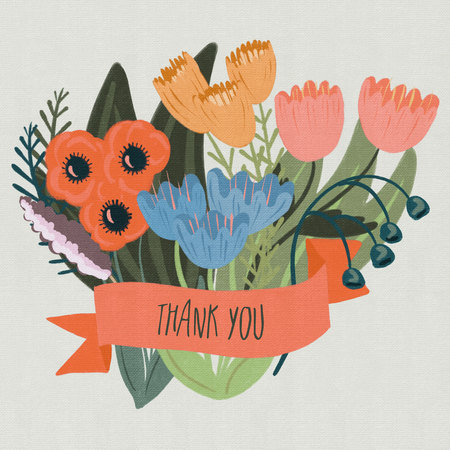 Thank You Banner with a Floral Bouquet
