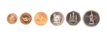 United Arab Emirates Coins on a White Background