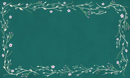Branch and Floral Boarder on Teal