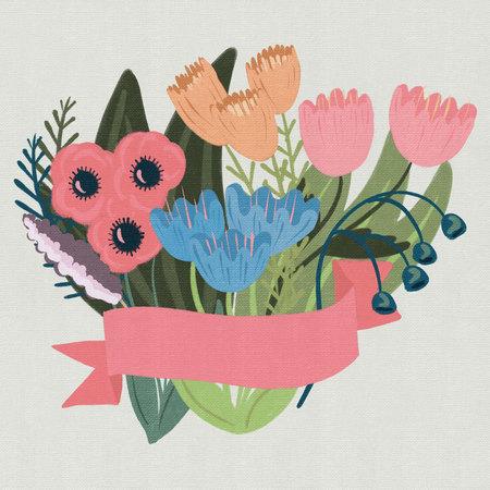 나만의 텍스트를 추가할 수 있는 맞춤형 배너가 있는 꽃무늬 디자인