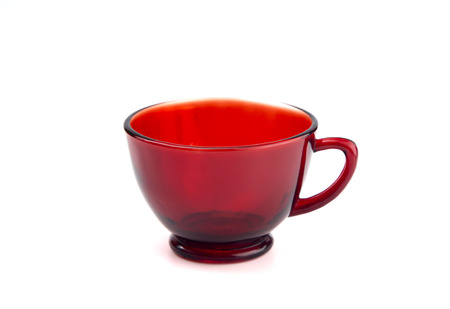 Red Transparent Tea Cup on a White Background