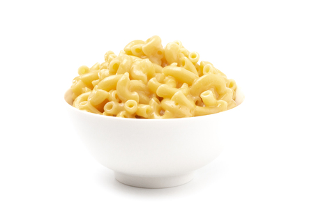 Classic Stovetop Macaroni and Cheese on a White Background Stock Photo