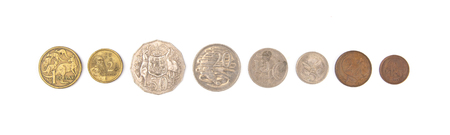 Australian Coins on a White Background