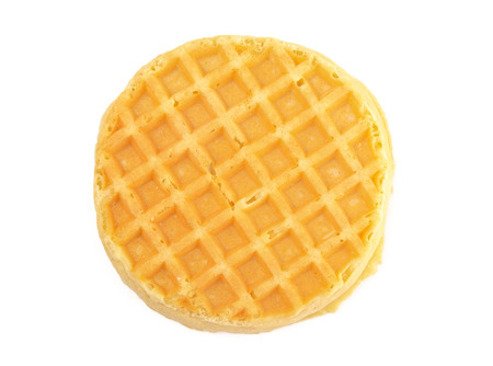 Round Waffles Ready for Breakfast on a White Background Stockfoto