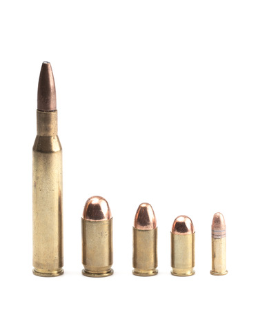 Five Bullets of Various Sizes and Shapes