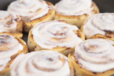 Fresh Cinnamon Rolls with White Icing in a Baking Pan