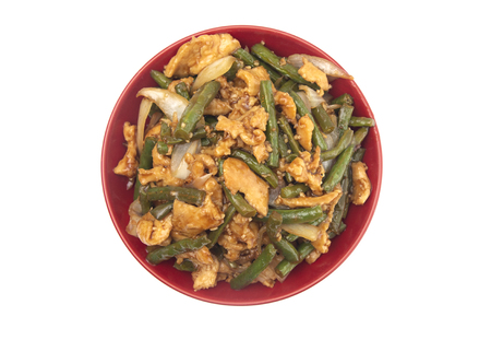 Green Bean and Chicken Stir Fry on a White Background Stock Photo