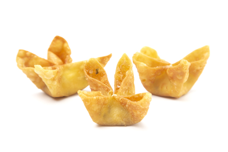 Fried Stuffed Wontons on a White Background