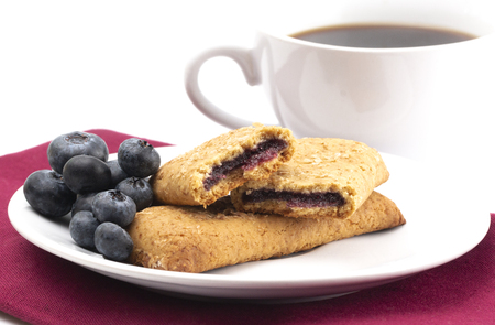 Whole Grain Blueberry Breakfast Bar on a White Background