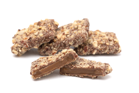 Luxery Chocolate Covered English Toffee Coated in Nuts on a White Background