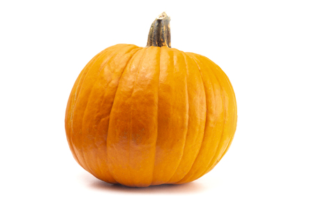 A Single Large Orange Pumpkin on a White Background