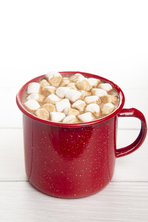 A Mug of Hot Chocolate in a Red Metal Mug