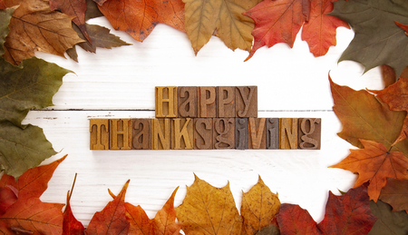 A Thanksgiving Themed Background with Read Fall Leaves Stock Photo