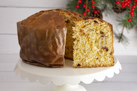 A Loaf of Panettone a Christmas Sweet Bread Stock Photo