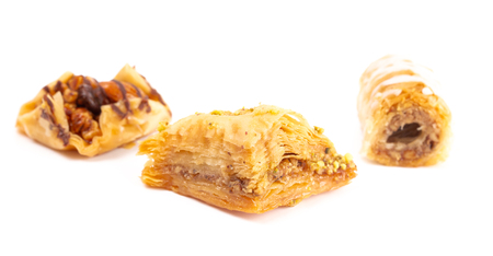 Sweet Classic Baklava on a White Background 写真素材