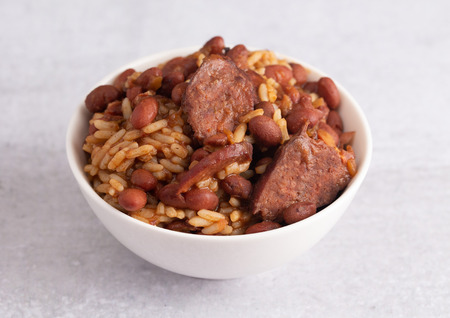 A Bowl of Red Beans and Rice with Sausage