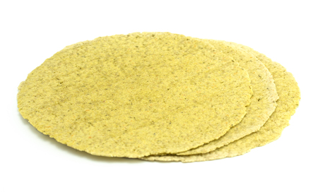 Green Spinach Gluten Free Tortillas on a White Background Stock Photo