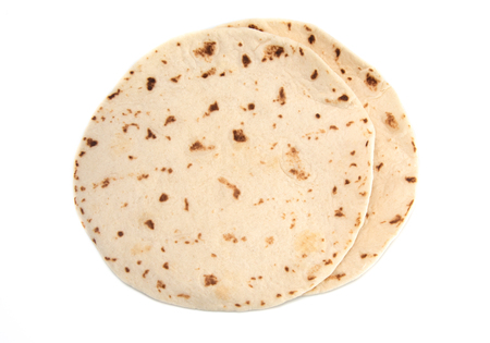 Fluffy White Tortillas on a White Background
