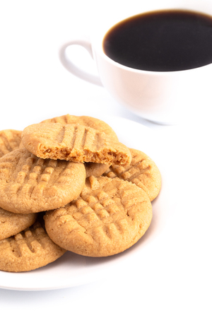 Classic Homemade Peanut Butter Cookies on a White Background Imagens