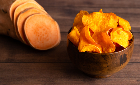 Healthy Potato Chips Made with Sweet Potatoes an Alternative to Classic Chips