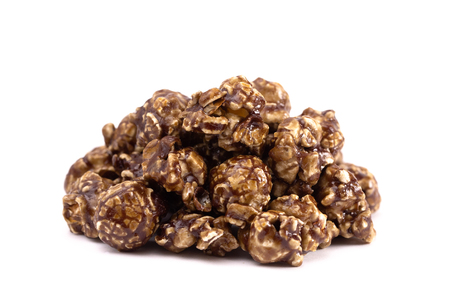 A Pile of Coffee Flavored Candy Coated Popcorn on a White Background Banque d'images