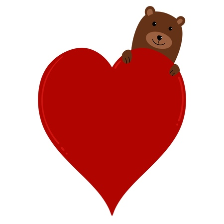A Sweet Brown Bear Poking His Head from Behind a Love Heart with Space to Add Text