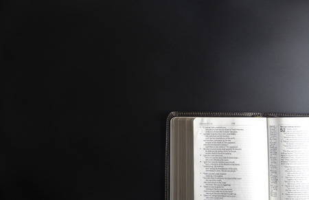 A Single Bible Open on a Black Surface 写真素材