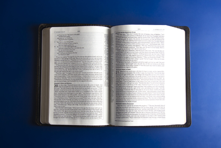 A Single Bible Open on an a Blue Background