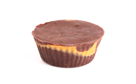 Homemade Chocolate Peanut Butter Cups on a White Background Stock fotó