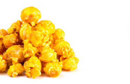 Gourmet Banana Flavored Popcorn on a White Background