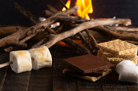 Making Smores on a Campfire Stock Photo