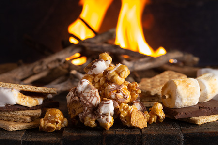 A Pile of Smore Flavored Popcorn at a Campout Stock Photo
