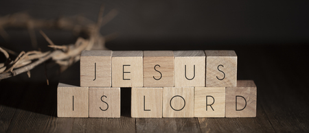Jesus is Lord Spelled in Blocks with the Crown of Thorns