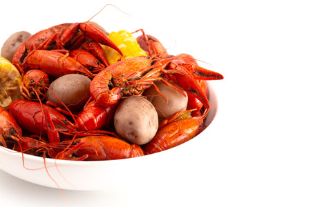 Crawfish Boil with Corn on the Cob and Potatoes Stock Photo