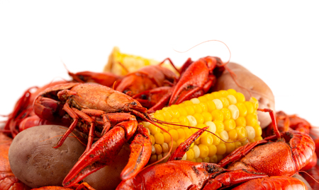 Crawfish Boil with Corn on the Cob and Potatoes 版權商用圖片