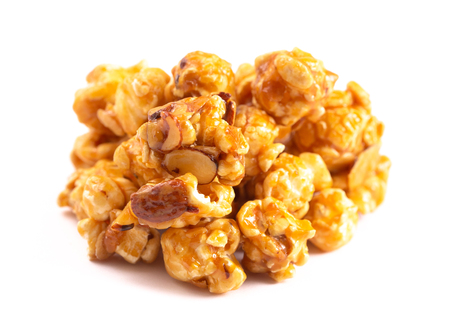 Salted Caramel Almond Flavored Popcorn on a White Background Banque d'images