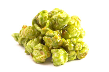 Lime Flavored Popcorn on a White Background