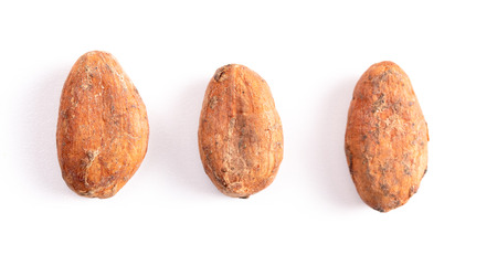 Raw Cocoa Beans Isolated on a White Background Foto de archivo - 122562892