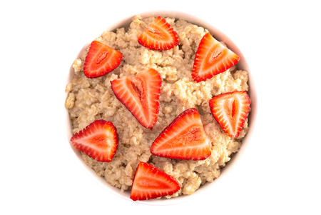 Oatmeal with Strawberries Isolated on a White Background