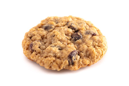 Cinnamon Raisin Oatmeal Cookies Isolated on a White Background