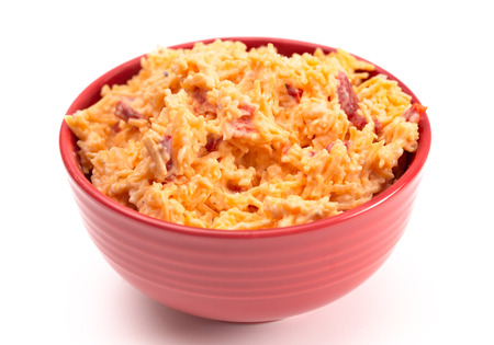 Homemade Pimento Cheese Isolated on a White Background
