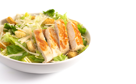 Fresh Chicken Caesar Salad Isolated on a White Background