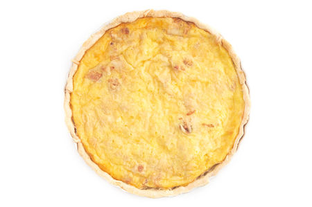 Whole Quiche Lorraine Isolated on a White Background Stock Photo - 123822417
