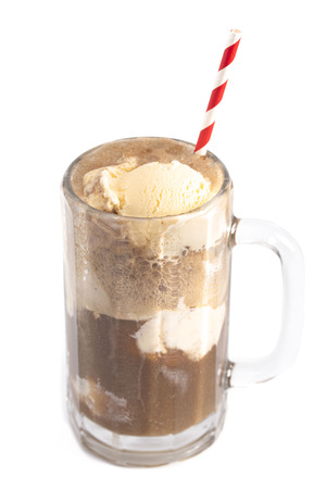 Root Beer Float Isolated on a White Background Banco de Imagens