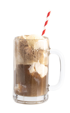 Root Beer Float Isolated on a White Background 스톡 콘텐츠