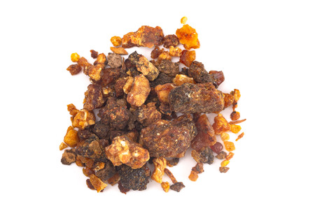 A Pile of Sweet Myrrh Opoponax Isolated on a White Background Stock fotó