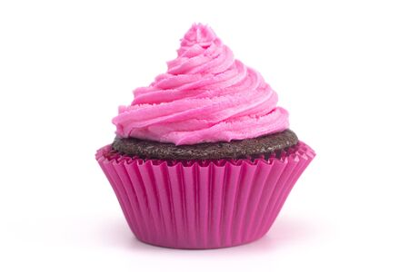 Single Pink Iced Chocolate Cupcake Isolated on a White Background